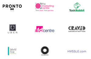 AVirtual partners logos. pronto, uber, the marketing centre, task rabbit, the fd centre, craved, world first, macquare, hassle.com