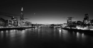 black and white photo of scenic city waterway, London, river Thames